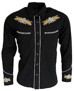 Mens-Cowboy-Western-Rockabilly-Skull-Flame-Shirt-NEW-Line-Dancing-Long-Sleeve