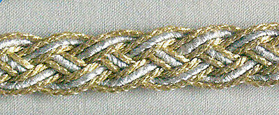 4 Yards. Gold & Silver. Woven Braid Trim. Celtic Knot. Passementerie. Gimp