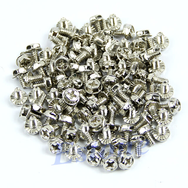 100pcs Toothed Hex Computer 6/32 Screws Hard Drive PC Case MBoard-Nickel Plated