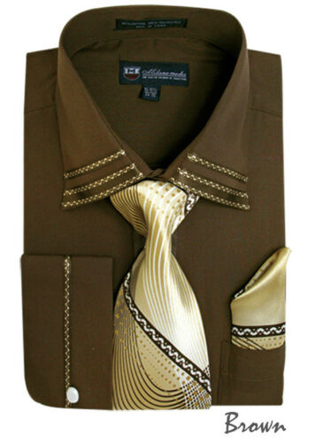 Men/'s French Cuff Dress Shirt With Tie And Handkerchief 10 colors 15~20 SG28