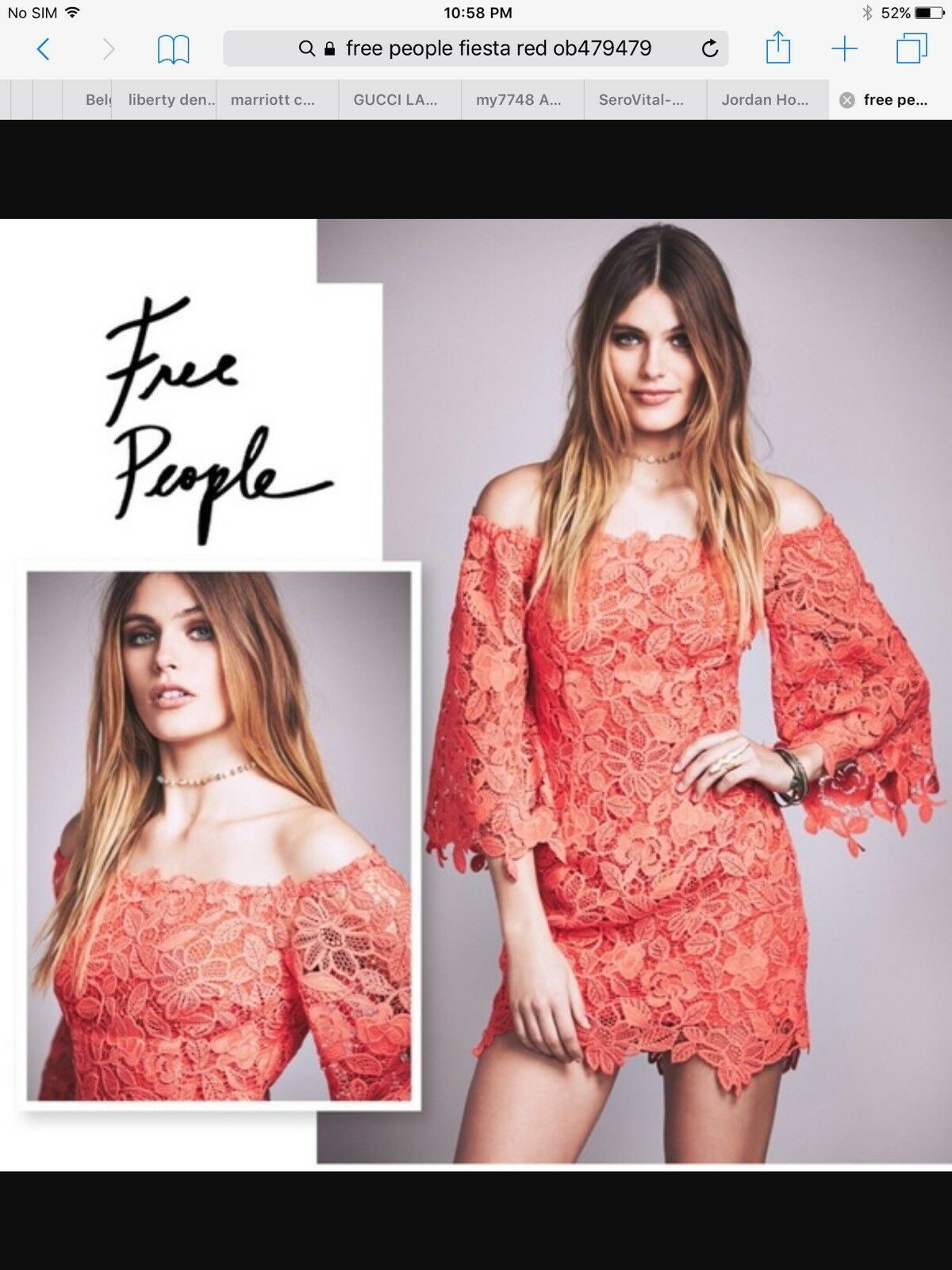 Free People Fiesta Red Lace Mini Dress Holiday time  NWT Size 0
