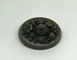 Antique-Victorian-Vulcanite-High-Relief-Intricately-Carved-Flowers-Brooch-Pin