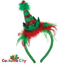 Adults Christmas Red & Green Mini Elf Hat Headband Fancy Dress Costume Accessory