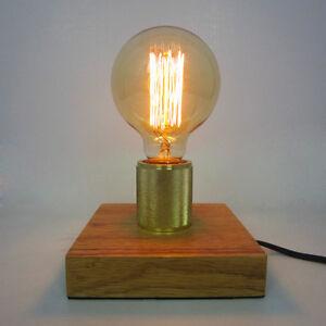 loft industrial tischleuchte edison holz sockel vintage lampe schreibtisch dekor ebay. Black Bedroom Furniture Sets. Home Design Ideas