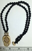 Real Carved Bone, Buddha Hand With Endless Knot Pendant On Macrame 18 Necklace