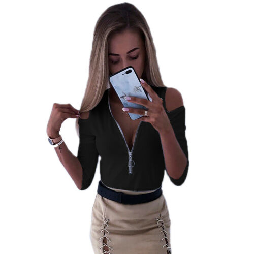 Womens Cold Shoulder Slim Fit T-Shirt Tops Ladies Zip Up Summer Casual Blouse UK