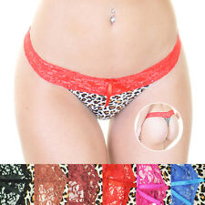 5797184ea 6 or 12 Pack Lace Waistband Leopard Print Cotton Thong Panties Underwear  B736P