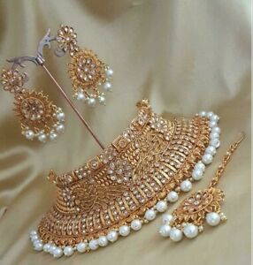 Details About Traditional Pearl Jewellery Bollywood Bridal Kundan Choker Necklace Earrings Set