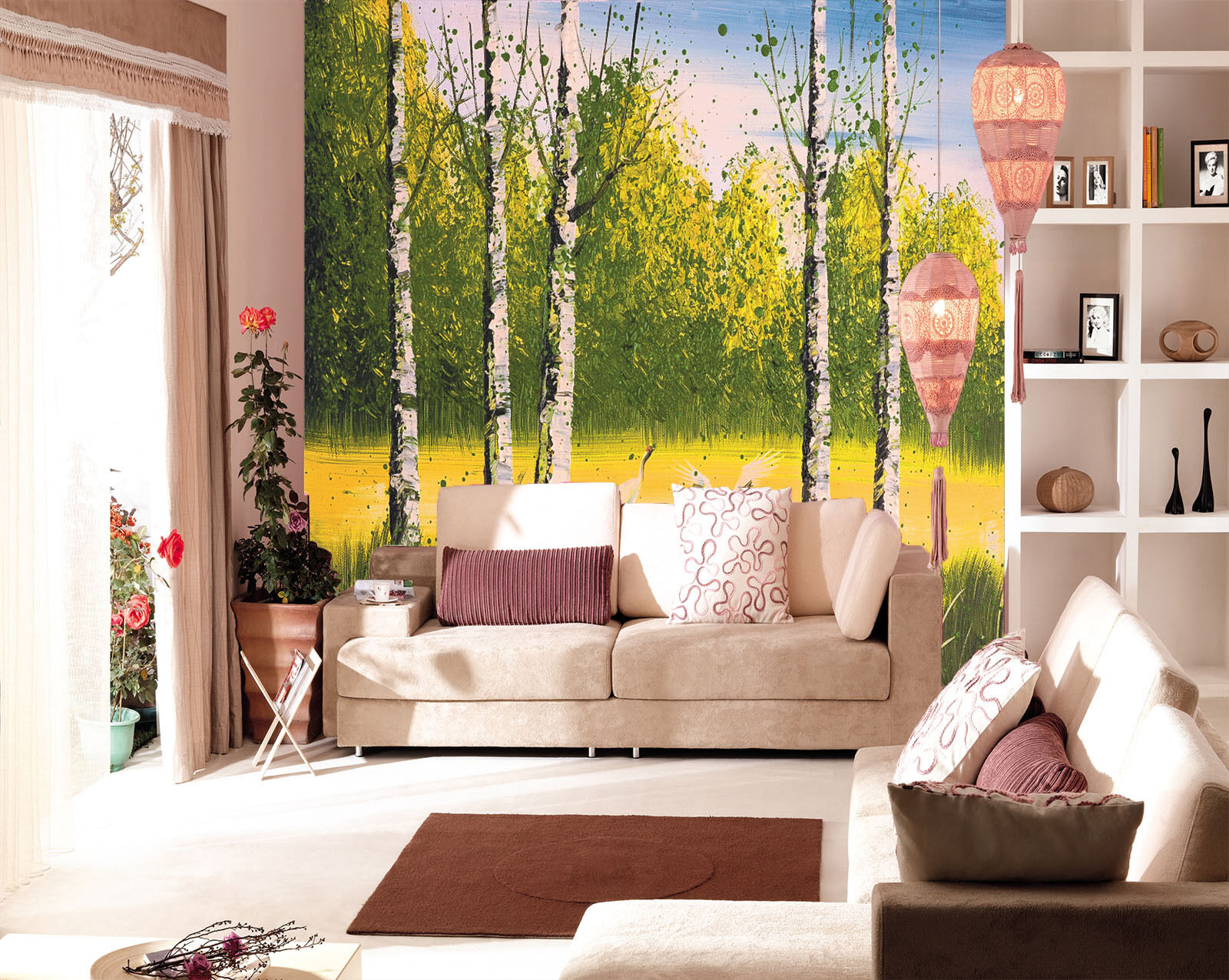 3D Painted Forest Trunk Paper Wall Print Wall Decal Wall Deco Indoor Murals