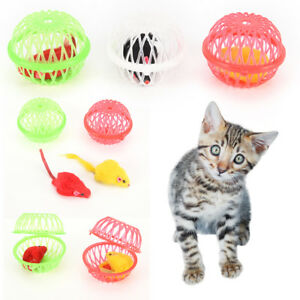 Christmas-gift-cat-kitten-funny-playing-toy-fake-mouse-mice-rat-in-cage-ball-Fad