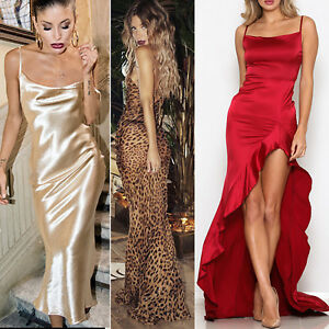 Women-Silky-Evening-Maxi-Dress-Long-Sparkle-Slit-Xmas-Party-Prom-Ball-Wedding-NY