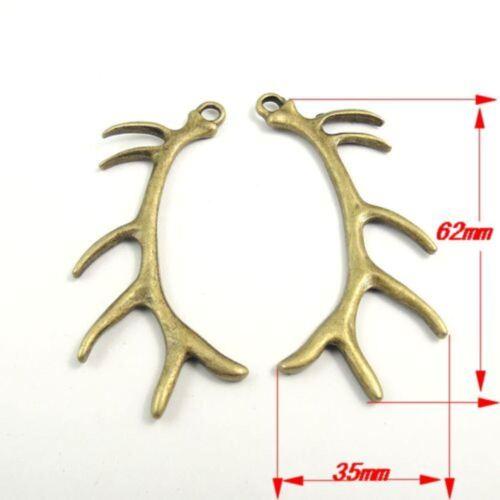 6pcs Antique Bronze Alloy Big Antler charms pendentifs bijoux Conclusions 31432