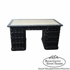 High Quality Ebonized Black Lacquer Faux Bamboo Leather Top Executive Desk