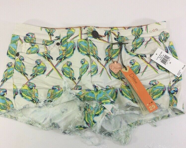 DITTOS WOMEN'S PRINT MISTY MID RISE SHORTS OFF WHITE MULTICOLOR SIZE 29 NWT  79