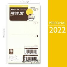 Filofax 2022 Personal Size Week On Two Pages Cream English Diary Refill 68424
