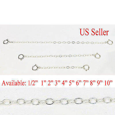 Solid Sterling Silver Extender /Safety Chain  Necklace Bracelet spring lock