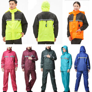 Adults-Waterproof-Suit-Jacket-Trousers-Packaway-Raincoat-Set-Womens-Mens-Ladies
