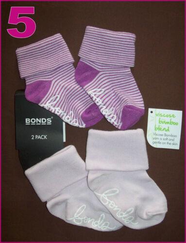 BONDS BABY Anti-Slip Socks 2Pk Sox GRIP SOLE Sz 0-6m or 6-12m Boy /& Girl NEW