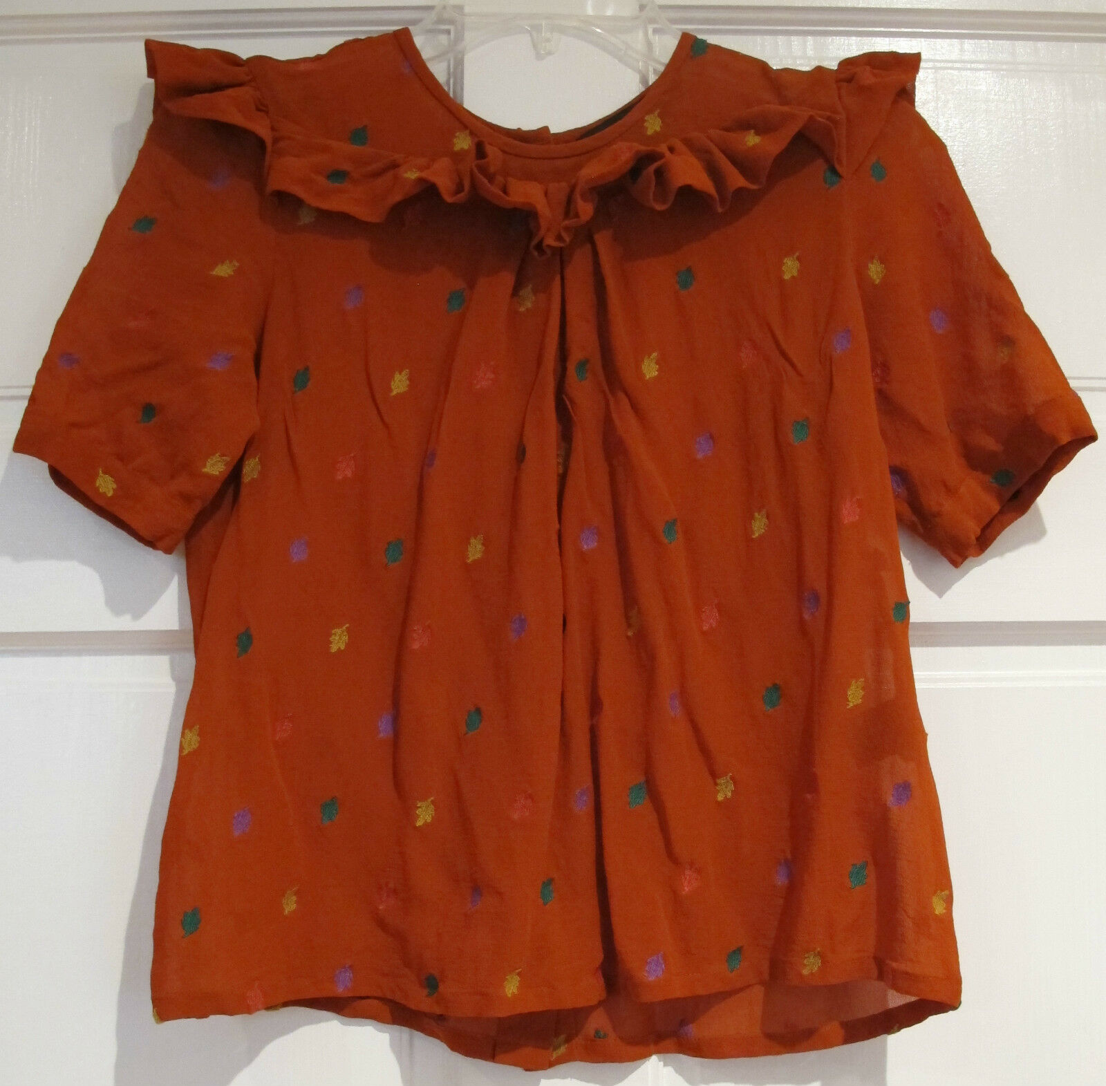 Marc by Marc Jacobs Embroiderot Leaves Victorian Peasant Sheer Blouse Größe 4