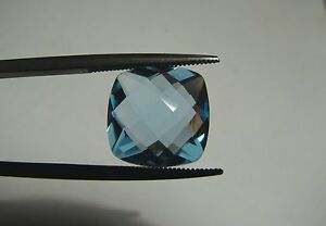Sky-Blue-Topaz-Brazil-Cushion-Checkerboard-12x12mm-Double-Sided-8-50-Carats