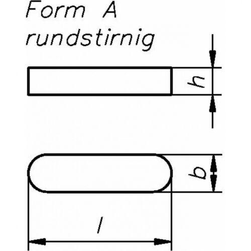 DIN 6885 Passfeder hohe Form A 4 x 4 x 14 Stahl blank