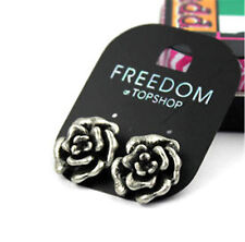 Vintage retro style antique silver coloured rose flower stud earrings