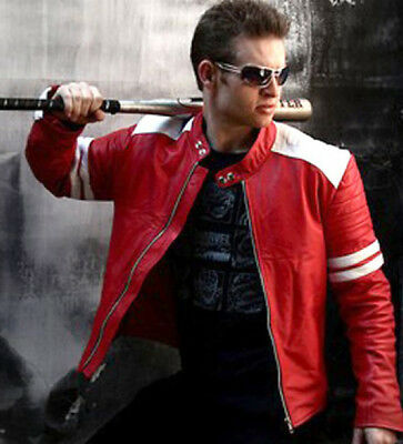 New Fight Club Retro Mayhem RED Leather Jacket WHITE STRIPE