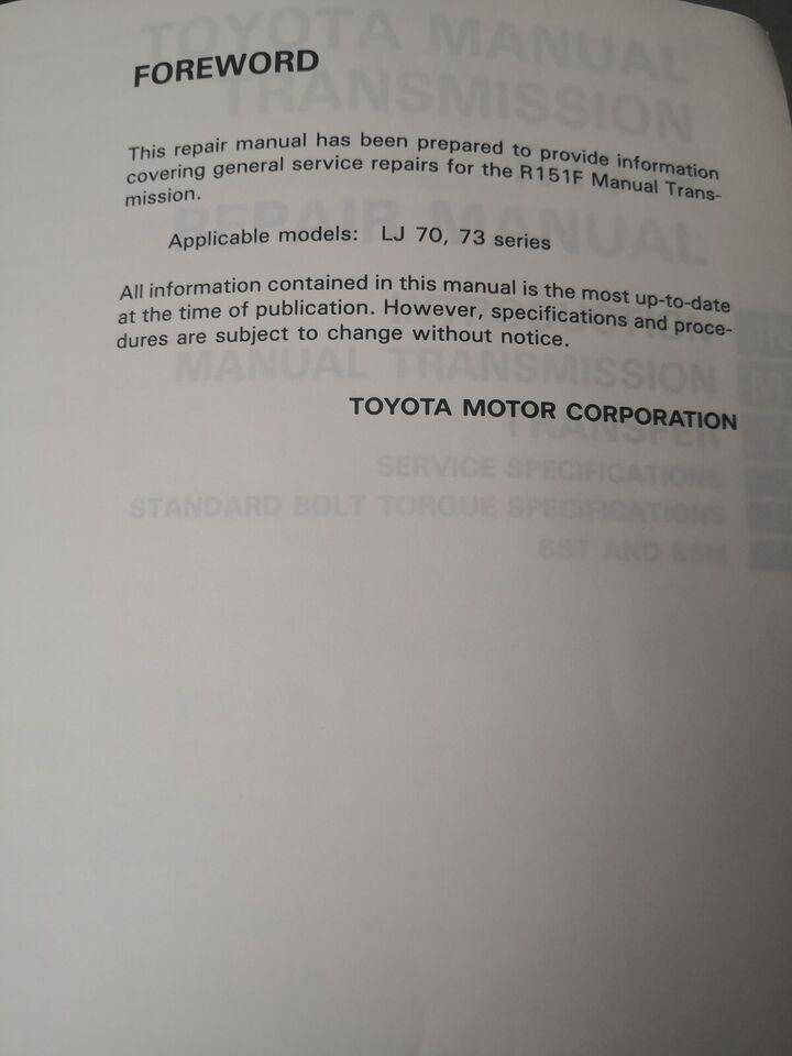 Reparationsbog, Toyota 4x4 gearkasse bog R151F