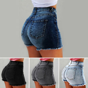 High-Waist-Denim-Women-Shorts-Bodycon-Ripped-Short-Jeans-With-Tassel-Plus-Size