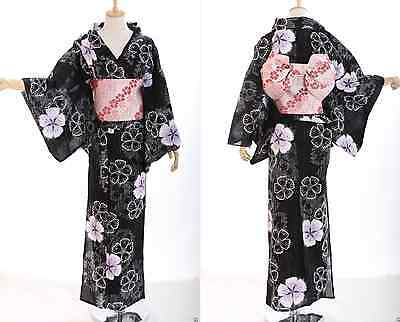 K-38 Blumen Flower ORIGINAL Japan Damen Kimono YUKATA OBI Gürtel Baumwolle