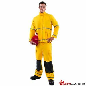 Mens Fireman Fancy Dress Costume Firefigher Fire Fighter Bachelor