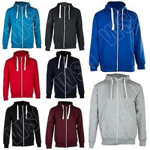 New-Mens-Plain-Zip-Up-Fleece-Hoodie-Hooded-Hoody-Top-Jacket-Size-S-M-L-XL-XXL