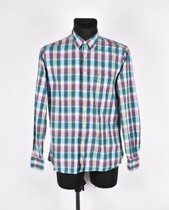 Tommy-Hilfiger-Coupe-Ajustee-Multi-Colore-Hommes-Chemise-Taille-M