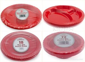 Image is loading Red-Round-Disposable-Plastic-Bowls-Plates-12-oz- & Red Round Disposable Plastic Bowls Plates 12 oz 18cm 26cm 3 ...