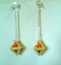 Handcrafted Unique Dice Queen of Hearts Chain Dangle Silver Hook Earrings