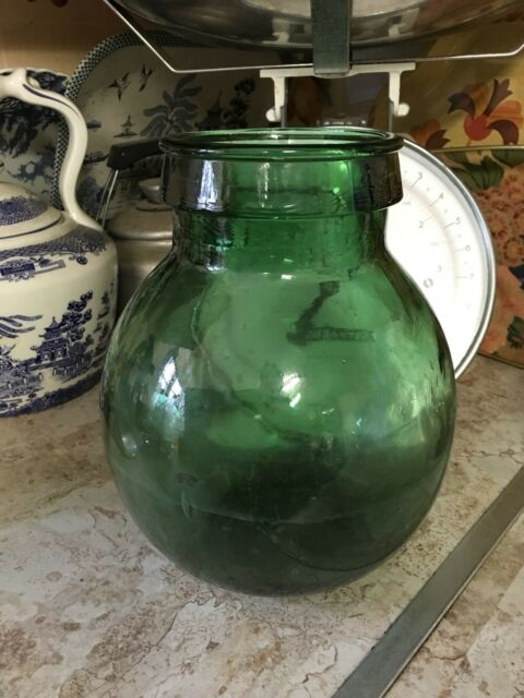 Vintage Retro Green Glass Indoor Garden Bottle Terrarium Carboy