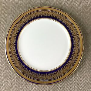 Rare-Aynsley-Fine-Bone-China-Simcoe-Cobalt-Blue-Gold-Dinner-Plate-27cm-7410
