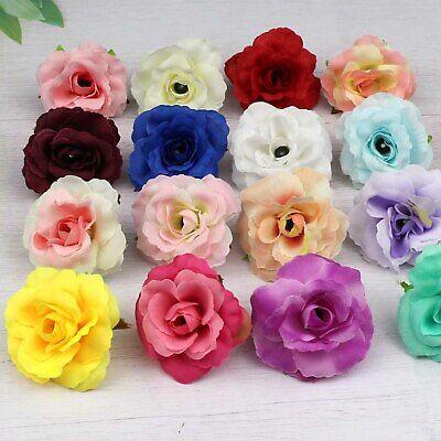 10//100pcs Artificial Fake Flower Silk Rose Heads Bulk Wedding Party Home Decor
