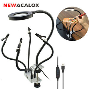 NEWACALOX Flexible Arms 3X Magnifier Lamp Soldering PCB Helping Hand Desk Clamp