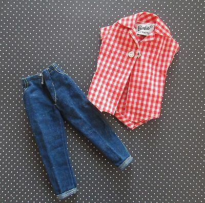 Vintage Barbie Picnic Set #967 Denim Clam Digger Jeans Red Checked Body Shirt