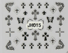 Halloween Black Crosses Silver Rhinestons 3D Nail Art Stickers Decals