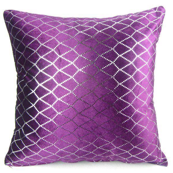 "Decor Shining Rhombus Sequins Pillow Case Cushion Cover 18"" Deep Purple PJ11"