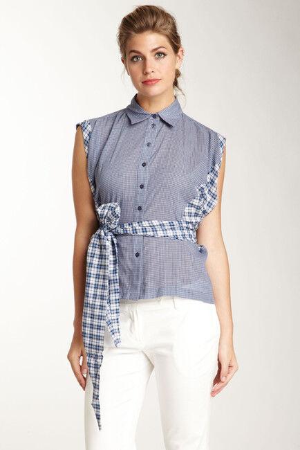 NEW L.A.M.B Gwen Stefani Blau Plaid Mix Media Wrap Around Shirt Top Blouse 6
