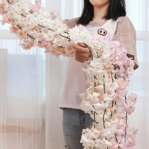 White-Artificial-Silk-Cherry-Blossom-Flower-Petals-Hanging-Vine-Floral-Decor-AU