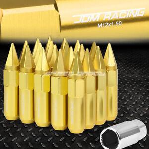 JDM ORANGE 20PCS M12X1.5 20MM OD 107MM TALL ALUMINUM LUG NUTS SPIKED CAP+ADAPTER