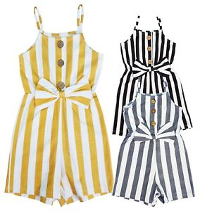 KIDS GIRLS PARTY OUTFIT JUMPSUITS  PLAYSUITS ROMPER SHORTS SUMMER AGE 4-14 YEARS