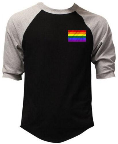Men/'s Chest Rainbow Flag Black Baseball Raglan T Shirt Gay Pride Lesbian LGBT