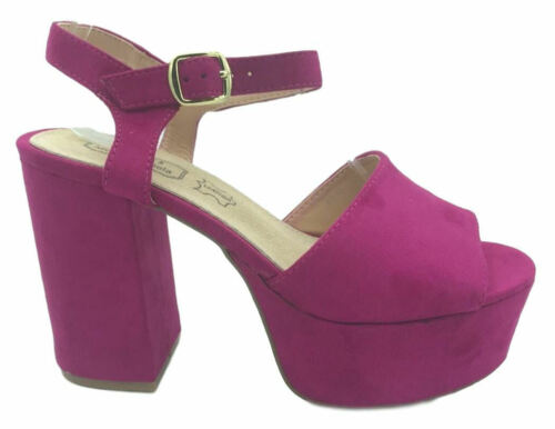 Womens Ladies Girls Platform Chunky Heels Shoes Beach Sandals Slip On 2-7