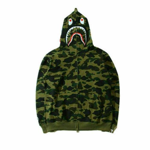 Men Camouflage A Bathing Ape BAPE Coat Full Zipper Jacket Hoodies Sweatshirts***