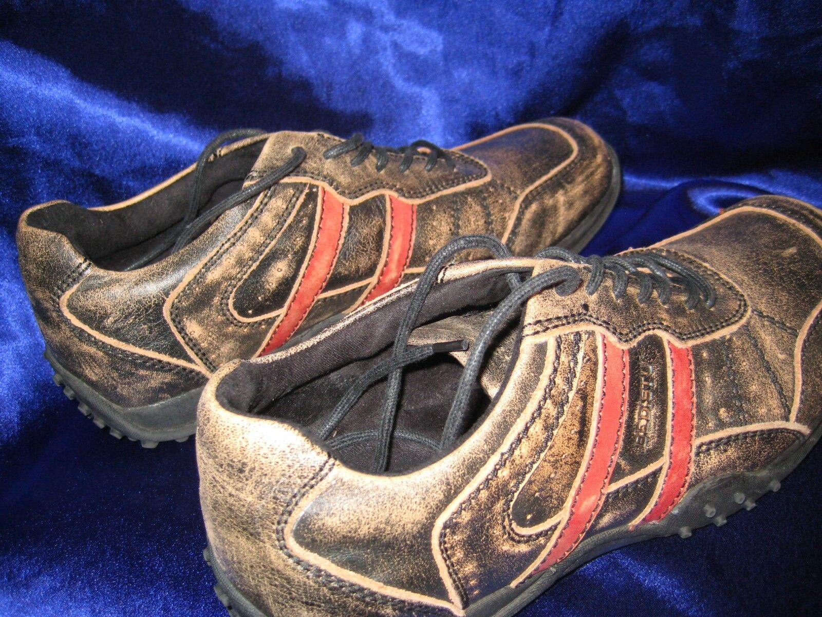 MEN'S SHOES BED STU HEAVY DISTRESSED BLACK W/ RED STRIPE SIZE 10